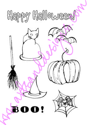 Click for more details of Happy Halloween Digistamp Sheet (digital downloads) by Julie Lynes