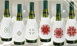 Click for more details of Hardanger Stars Wine Bottle Aprons (hardanger) by Permin of Copenhagen