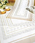 Click for more details of Hardanger Table Covers with Pastel Edges (fabric) by Rico Design