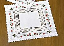Click for more details of Hardanger Table Mats with Strawberries (hardanger kit) by Permin of Copenhagen