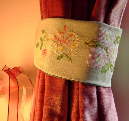 Click for more details of Hedgerow Curtain Tie Back (cross stitch) by Anne Peden