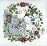 Click for more details of Hibiscus and Hummingbird (cross stitch) by Lesley Teare