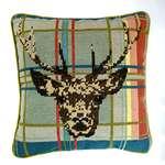 Highland Stag on Tartan Cushion Front