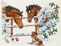 Click for more details of Horses with Puppy (cross stitch) by Eva Rosenstand