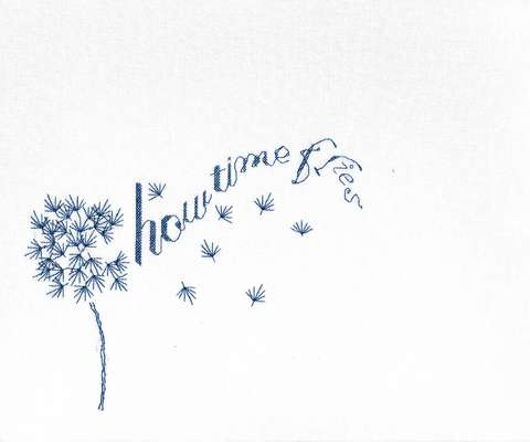 Click for more details of How Time Flies (blackwork) by Anne Peden