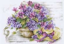 Click for more details of Hydrangeas on a Bench (cross stitch) by Lanarte