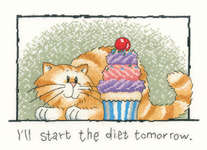 Click for more details of I'll start the diet tomorrow (cross stitch) by Peter Underhill