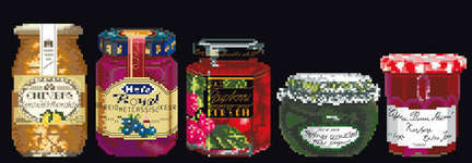 Click for more details of Jam Pots (cross stitch) by Thea Gouverneur