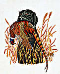 Click for more details of Labrador with Pheasant (cross stitch) by Eva Rosenstand