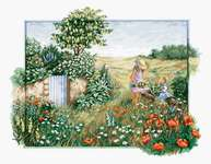 Click for more details of Landscape with Poppies (cross stitch) by Luca - S