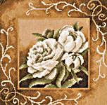 Click for more details of Large Peonies in Sepia (cross-stitch kit) by Lanarte