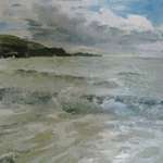 Click for more details of last light over Elie  (oil on canvas) by Yvonne Healy