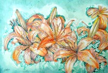 Click for more details of Lillies (watercolour) by Julie Peden