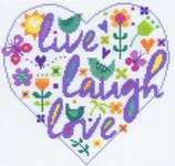 Click for more details of Live Laugh Love (cross stitch) by DMC Creative