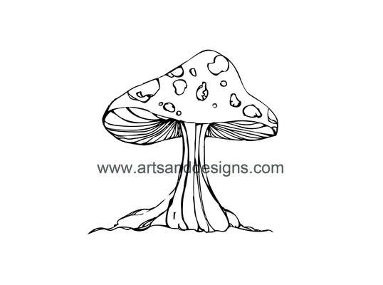 Click for more details of Magic Toadstool Digital Stamp in Black (digital downloads) by Julie Lynes
