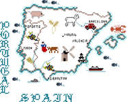 Click for more details of Map of Spain and Portugal (cross-stitch pattern) by Sue Hillis Designs