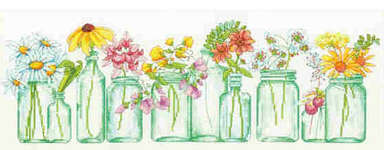 Click for more details of Mason Jar Line Up (cross stitch) by Dimensions