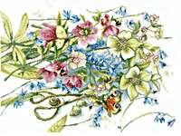 Click for more details of Meeting Around Helleborus (cross stitch) by Marjolein Bastin