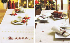 Merry Christmas Table linen - 90 x 90 cms Stripes cover natural