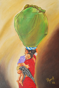 Click for more details of MILES TO GO... (oil on canvas) by ragunath