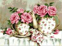 Click for more details of Morning Tea and Roses (cross stitch) by Luca - S