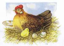 Click for more details of Mother Hen and Chick (cross stitch) by Marjolein Bastin