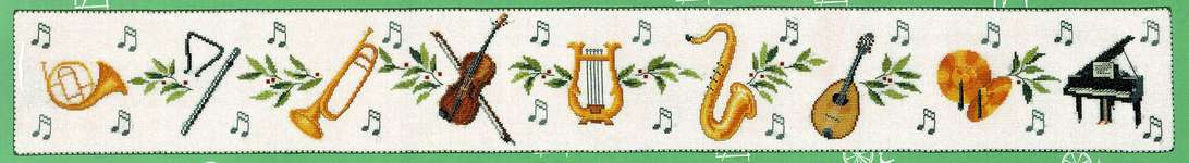 Click for more details of Music Panel (cross stitch) by Eva Rosenstand