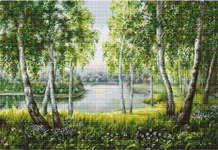 Click for more details of Native Birches in the Light (cross stitch) by Luca - S