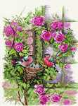 Click for more details of Nesting Birds in Rambler Rose (cross-stitch kit) by Lanarte