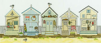 Click for more details of New England : Beach Huts (cross stitch) by Bothy Threads