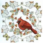 Click for more details of Northern Cardinal in Autumn (cross stitch) by Lesley Teare