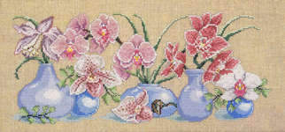 Click for more details of Orchids in Blue Vases (cross stitch) by Permin of Copenhagen