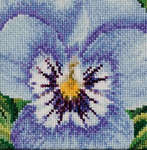 Click for more details of Pansy - Blue and White (cross stitch) by Thea Gouverneur