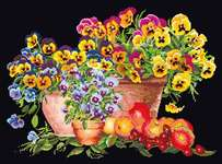 Click for more details of Pansy Pots (cross stitch) by Thea Gouverneur