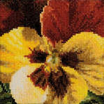 Click for more details of Pansy - Yellow and Dark Red (cross stitch) by Thea Gouverneur
