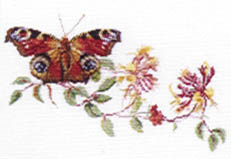 Click for more details of Peacock Butterfly and Honeysuckle (cross stitch) by Thea Gouverneur