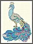 Click for more details of Peacock in Blue (blackwork) by DoodleCraft Design