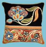Click for more details of Persian Flowers in Black and Red (tapestry) by Glorafilia