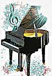 Click for more details of Piano (cross stitch) by Ronnie Rowe Designs