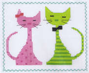 Click for more details of Pink and Green Cats  (cross stitch) by Vervaco
