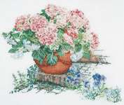 Click for more details of Pink Hydrangeas and Blue Pansies (cross stitch) by Thea Gouverneur