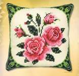 Click for more details of Pink Roses Cushion Front (tapestry) by Vervaco