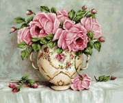 Click for more details of Pink Roses in Antique Vase (cross stitch) by Luca - S