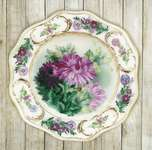 Click for more details of Plate with Chrysanthemums (embroidery) by Riolis
