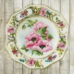 Click for more details of Plate with Pink Poppies (embroidery) by Riolis