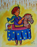 Click for more details of POIKAL KUDHURAI ( dummy horse danciny ) (oil on board) by ragunath