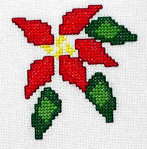 Click for more details of Poinsettia Christmas Card (cross stitch) by Anne Peden