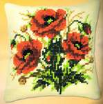 Click for more details of Poppies Cushion Front (tapestry) by Vervaco
