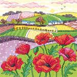 Click for more details of Poppy Landscape (cross stitch) by Karen Carter