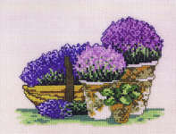 Click for more details of Purple Flowers in Pots (cross-stitch kit) by Permin of Copenhagen